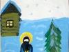 Прп. Сергий чистит снег зимой